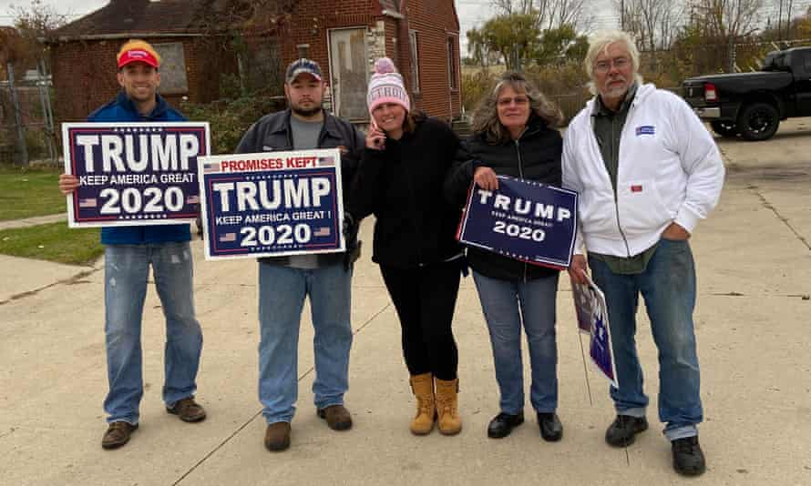 A small group of Trump supporters gathered outside of a Jill Biden rally in Westland, Michigan, on Thursday.