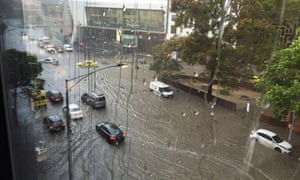 Flooding on Victoria Street in Melbourne on Thursday.