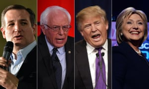 Top US presidential candidates Ted Cruz, Bernie Sanders, Donald Trump and Hillary Clinton.
