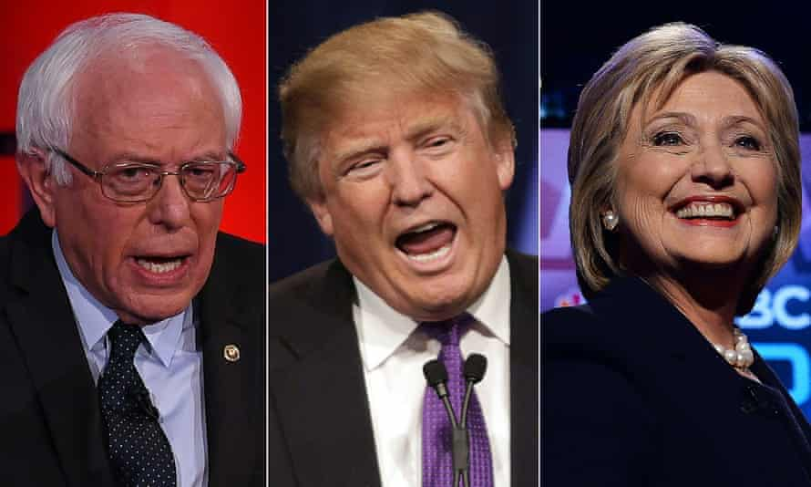 Bernie Sanders, Donald Trump and Hillary Clinton