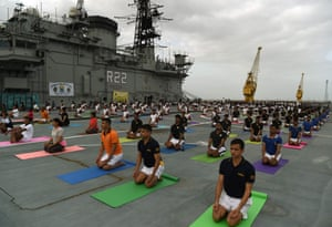 Mumbai, India Armed forces personnel take part in a yoga sesssion