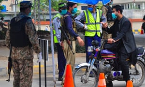 Troops continue to be deployed in the streets of Peshawar, Pakistan to maintain law and order amid the lockdown imposed to curb the spread of the Coronavirus in the country.