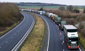 Lorries queuing en route to Dover during a trial for a no-deal Brexit, Kent, January 2019