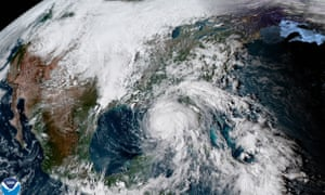 A satellite image of Hurricane Michael, which is expected to make landfall on Wednesday, approaching the US coast.