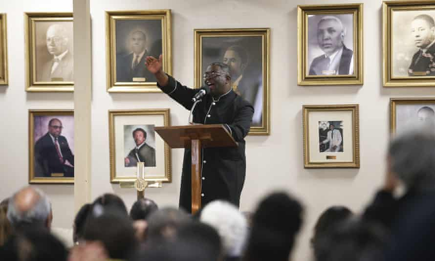Pastor Arthur Price Jr preaches during a 16th Street Baptist church service in Birmingham, Alabama.