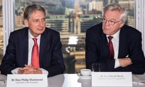 Philip Hammond and David Davis during the meeting with financial services executives at the Shard