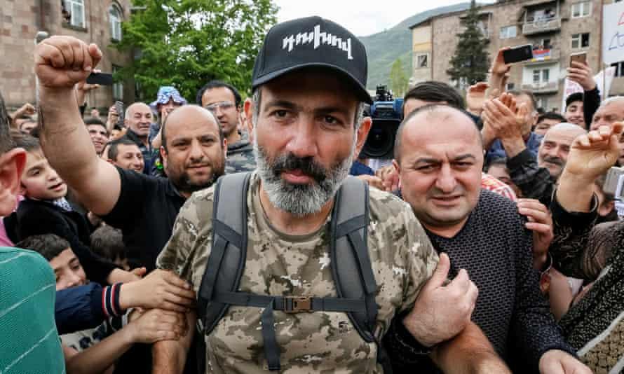 Nikol Pashinyan at an April rally in Ijevan, Armenia.