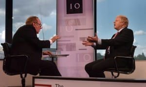 Andrew Neil and Boris Johnson on BBC TV's The Andrew Neil Interviews.