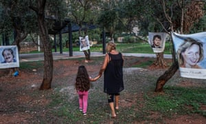 An olive grove in Palermo, where portraits of the five victims of the 1992 attack on anti-mafia magistrate Giovanni Falcone hang in remembrance.