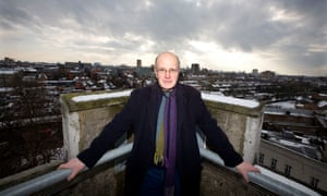 Iain Sinclair photographed at St Augustine's Tower, Mare Street, Hackney, London