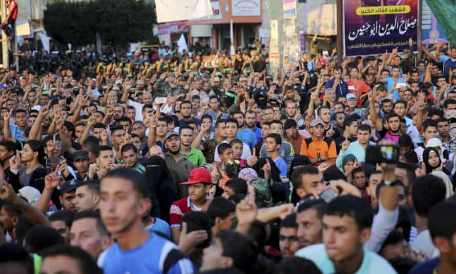 Palestinian Hamas supporters at a rally in the Gaza Strip