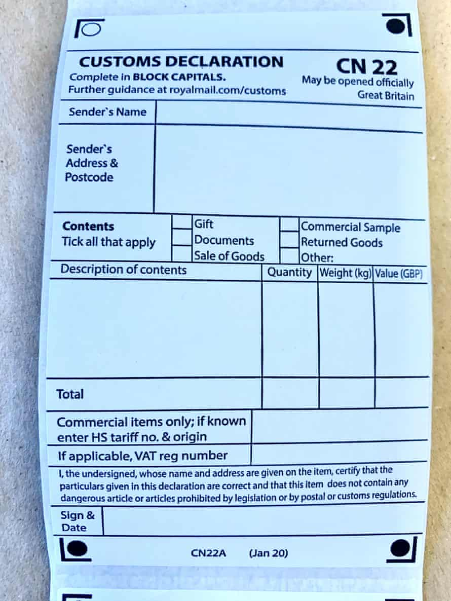 CN22 form that must be completed for all parcel post to the EU from 29 December
