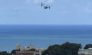 A US Marine V-22 Osprey helicopter takes off from the US embassy in north-east of Beirut, Lebanon.