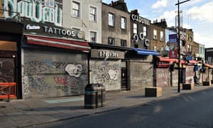 The usually busy Camden High Street in north London lies deserted, with most shops closed in the second lockdown in England.