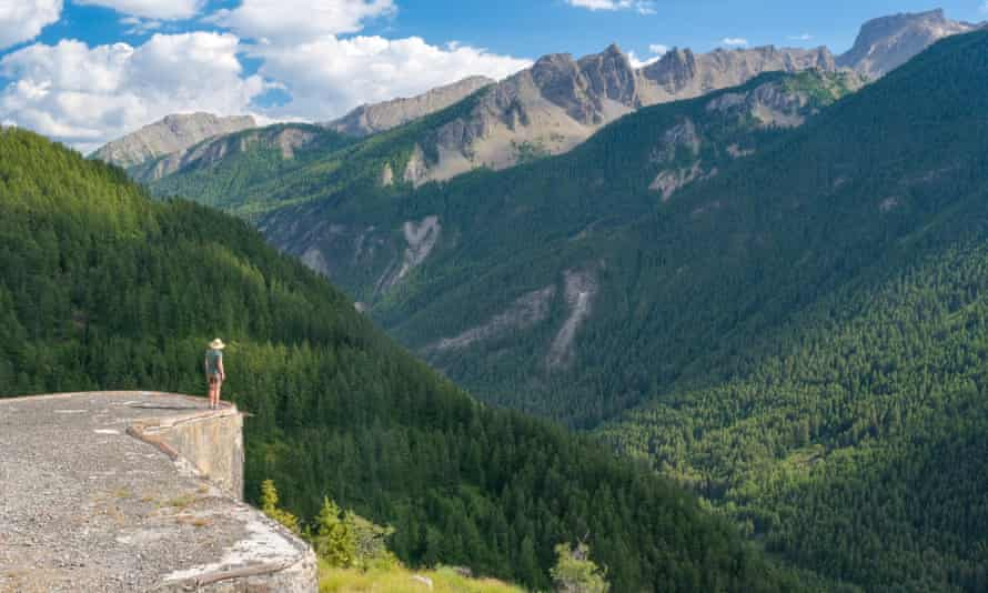 View over valley and mountains from Fort de Saint-Ours, French Alps