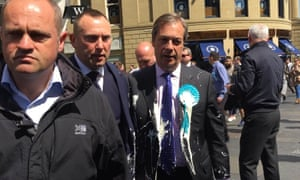 Nigel Farage after beint hit with a milkshake during a campaign walkabout in Newcastle.