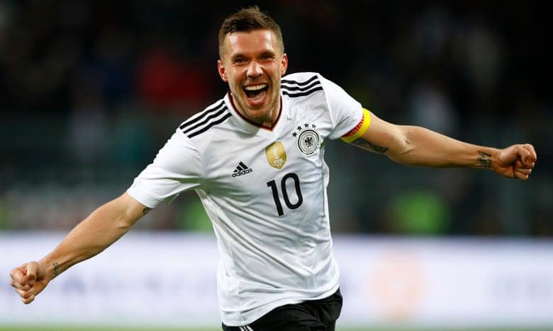 Lukas Podolski celebrates scoring the opener.
