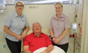 Ian Chubb with clinical nurse specialist for oncology Tabitha Kellock and nurse unit manager for oncology day unit Abby Fyfe