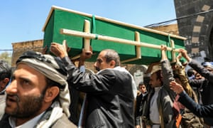 Yemeni mourners at a funeral in Sana'a