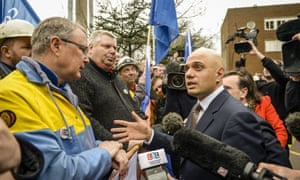 The UK's business secretary, Sajid Javid, visits the Tata steel plant in Port Talbot, Wales, on Friday