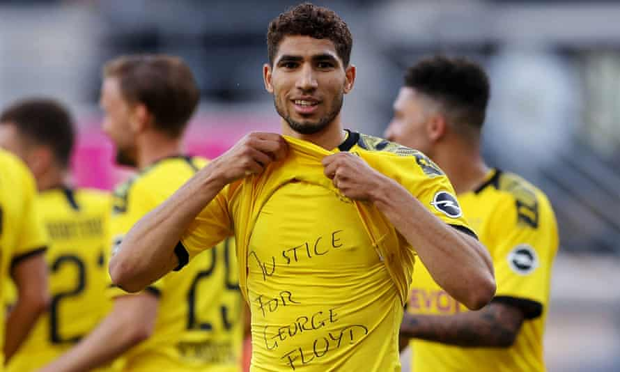 Achraf Hakimi celebrates scoring against Paderborn on 31 May by paying tribute to George Floyd.
