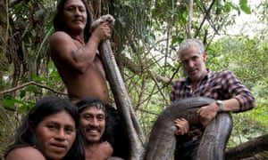 'Before we picked it up I really didn't want to do it' … Gordon Buchanan with Waorani members plus anaconda friend in Tribes, Predators and Me.
