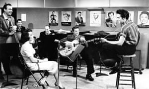 Moore, second from right, with Elvis Presley on the set of Jailhouse Rock.