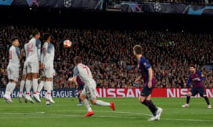 Lionel Messi scoring for Barcelona against Liverpool