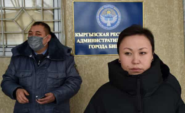 Altyn Kapalova, a researcher and a children's writer, awaiting trial at a court in Bishkek