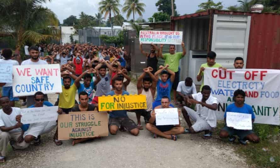 Asylum seekers protest on Manus Island, Papua New Guinea, in this picture taken from social media November 3, 2017.