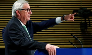 Jean-Claude Juncker holding a news conference at the European commission HQ.
