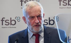 Jeremy Corbyn speaking at the Federation of Small Businesses in London