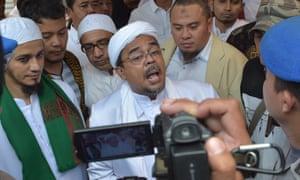 Rizieq Shihab, the leader of the Indonesian hardline Muslim group FPI.