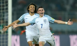Philip Foden celebrates after scoring his second and England's fifth.