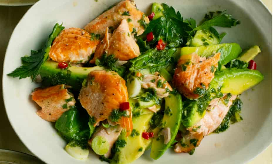 'Lovely contrasts of texture': grilled salmon with avocado and herb lime dressing.