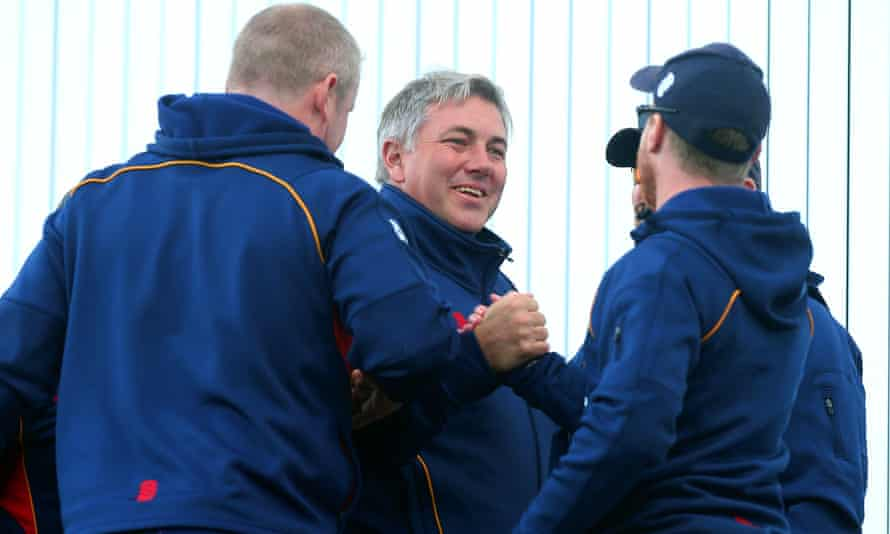Chris Silverwood, centre, celebrates Essex's County Championship title triumph in September which has helped convince the ECB he is the right man to replace Ottis Gibson.