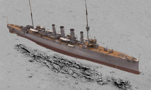 A 3D scan of HMS Falmouth by Historic England's imaging team superimposed on a survey of the wreck.