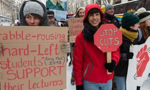 Students and university staff protest against cuts in higher education, London