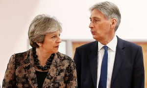 Theresa May and Philip Hammond at an engineering training facility yesterday