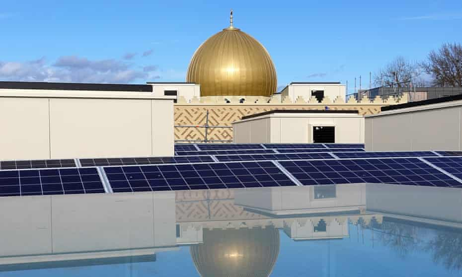 Solar panels on the roof of the mosque, which employs a host of environmentally friendly technologies.