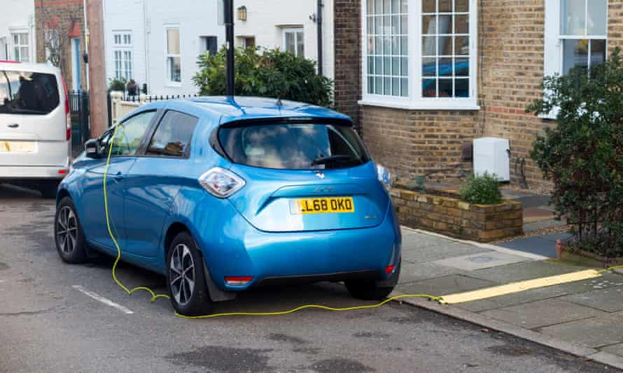 Renault Zoe electric car being charged up