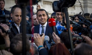Di Maio speaks to the media in Rome on 6 February, a day after he met with a group of gilets jaunes protesters in central France.