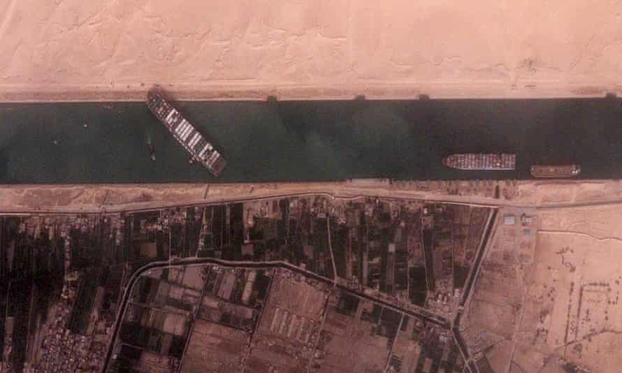 The Ever Given container ship remains stuck in a single-lane, older section of the Suez canal.