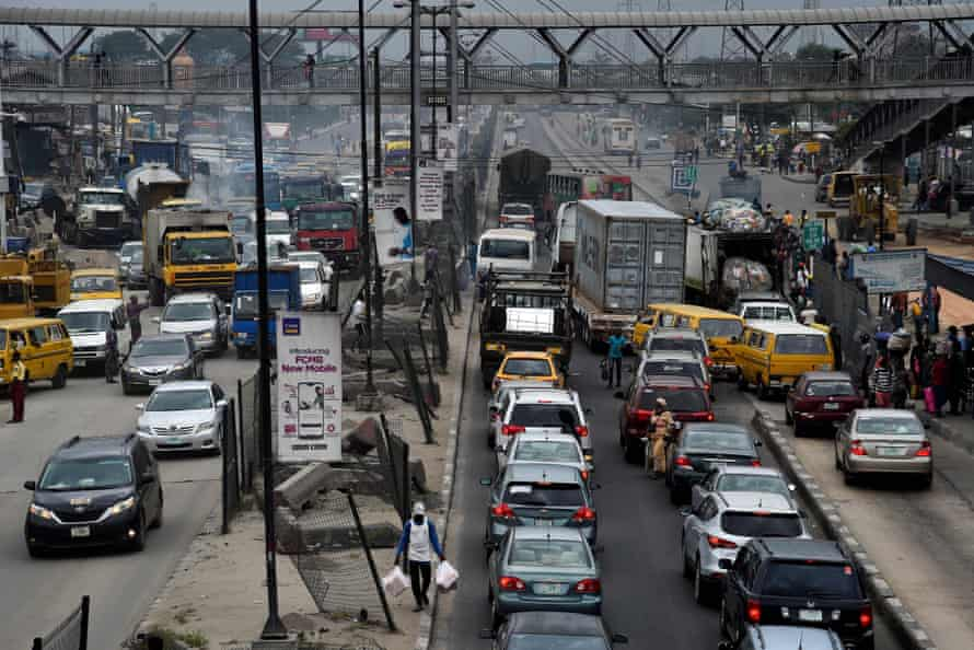 Motorists stuck in traffic on Ikorodu Road, an alternative route taken during six-month closure of the Third Mainland Bridge for maintenance, in Lagos, Nigeria, on 28 July 2020.