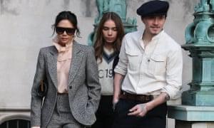 (From left) Victoria Beckham, Hana Cross and Brooklyn Beckham