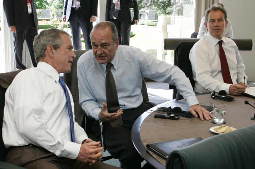 Jacques Chirac speaks with George W. Bush and Tony Blair, right, looks on during the G8 summit in 2005.