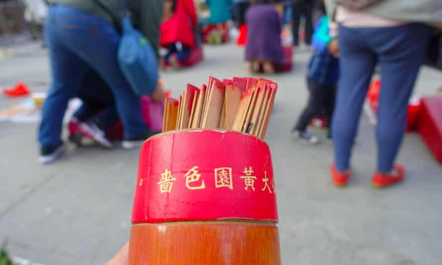 HONG KONG, CHINA - JANUARY 22, 2017: Close up of incenses, inside of Wong Tai Sin Buddhist Temple to pray, in Hong Kong, China