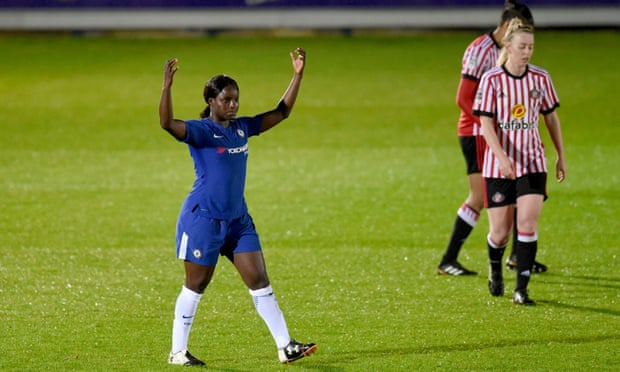 Eni Aluko celebrates after scoring for Chelsea against Sunderland in her final home game for the club.