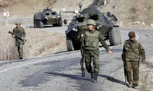 Turkish soldiers and tanks on patrol in Şırnak province