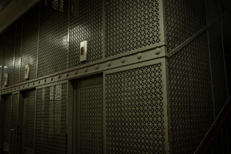 The lift shaft of the Nicholas Building is known for its distinctive metal enclosure.